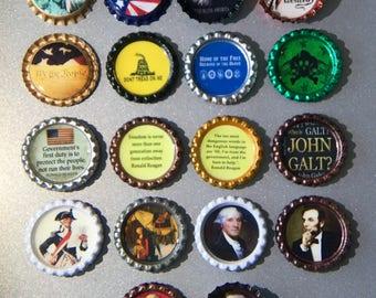 Patriotic Magnets, Political Magnets, Refrigerator Magnet, Bottlecap Magnet, Kitchen Magnet, Kitchen Decor, Office Magnets, Magnet Art