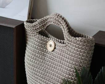 Beige Crocheted ToTe Bag
