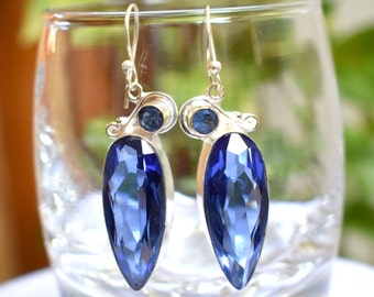 Tanzanite Dangle Earrings - 925 Sterling Silver Earrings - Tanznite Quartz Dangle Earrings - Women Dangle Earrings