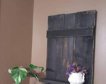 black distressed shelf