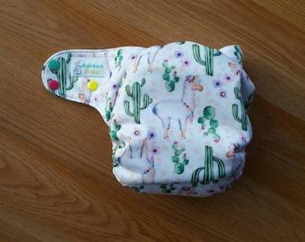 Llama cloth diaper - AIO cloth diaper - one size cloth diaper - newborn aio - hemp bamboo diaper - wahm cloth diaper - cactus cloth diaper