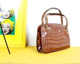 French Vintage Handbag / 1940 50s camel orange brown leather croco Top handle bag / Clasp fastening Kelly Antique Purse /  Made in France
