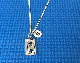 cassette tape necklace ,Jewelry, Silver Jewelry, cassette tape jewelry, gift for music lovers CP34