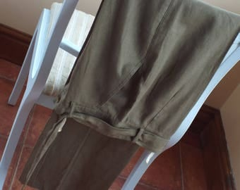 "VINTAGE and gorgeous olive green linen mix ladies slacks by ""steilmann"""