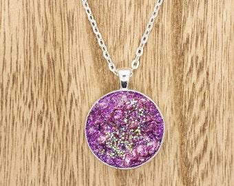 Purple Druzy Effect Glittery Resin Cabochon Pendant On Silver Tone Necklace