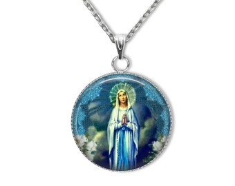 Our Lady of Lourdes Pendant with 18, 20 or 24 inch stainless steel chain - Blessed Virgin Mary Necklace