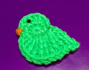 Crocheted Chicks Lg, Set of 5, Easter Chick Appliqué, Easter Chicks, Crochet Easter Chick