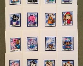 Dog & Cat Superlatives Notecards - Set of 16 Blank Inside