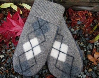 Wool Sweater Mittens, Women's Large, Mens' Small, Made from Eco-Friendly Re-cycled Felted Wool Sweaters