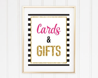 Cards & Gifts Printable - Black and White Striped - Kate Spade Inspired Wedding, Engagement, Bridal Shower, Bachelorette Party