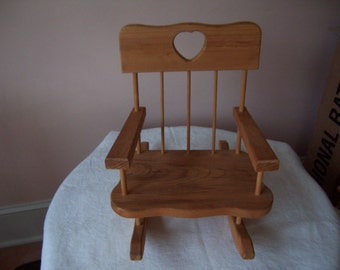 Stained Wood Doll or Bear Rocking Chair with Heart Cut Out
