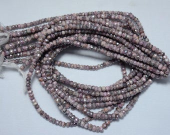Silverite Beads, Faceted Rondelle Beads, AAA Pink Silverite Rondelles, Gemstone Beads, 15 Inch Strand SKU - 508