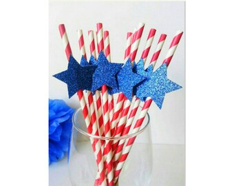 Patriotic. Fourth of July. Patriotic Straws. Red White and Blue. Paper Straws. Star Straws. 4th of July Straws. Patriotic Birthday