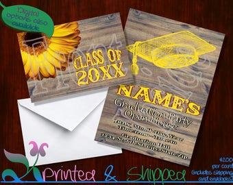 Country Wood Graduation Invitation; Folded Card; Postcard; PDF; E-Card