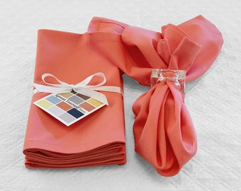 Coral Cotton Napkins, Set of Four 18 x 18 Inch Coral Napkins with Mitered Corners, Cotton Napkins in Coral