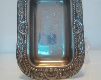 Antique ashtray of silver plated 1900