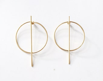 Oversized circle bar earrings, geometric earrings