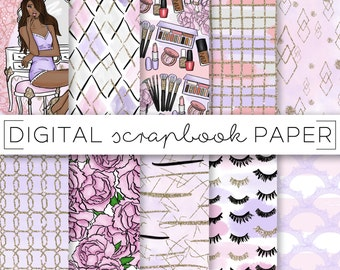 Purple Pink Fashion Girl Digital Scrapbook Paper Watercolor Gold Glitter Pattern Hand Drawn Tumblr Doodle Blogger Makeup Pastel  Peach Print