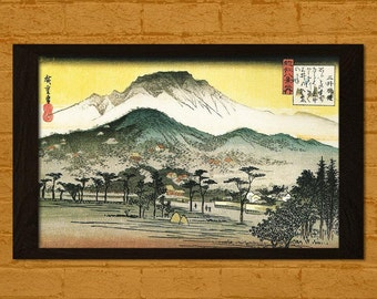 Evening View of a Temple in the Hills Hiroshige Ukiyo-e Vintage Fine Art Print Retro Wall Home Japanese Art