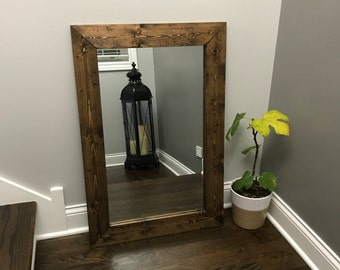Unique Mirror, Farmhouse, Wood Frame Mirror, Rustic Wood Mirror, Bathroom  Mirror,