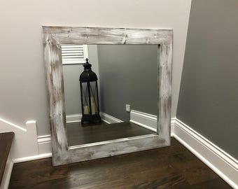 Mirror, Whitewash Wood, Wood Frame Mirror, Rustic Wood Mirror, Bathroom Mirror, Wall Mirror, Vanity Mirror, Small Mirror, Large Mirror