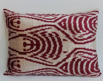 İkat Velvet Pillow Cover, 15'' x 21'' , Decorative Pillow, Handmade Silk Pillow, İkat Lumbar Pillow,  Shipping with Fedex 1-3 days
