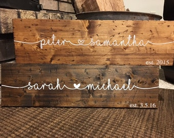Wooden Sign | Family Name Sign| Couple Name Sign| Wedding Sign| Gift Idea | Distressed Wood Decor | Denney Studio | Personalized