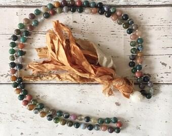 Indian agate mala beads, mala beads, indian agate mala, gemstone mala, natural stone mala, 108 mala beads