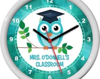 "Classroom Teacher Clock 10"" Purple Personalized Wall Clock Classroom Decor Owl Mortar Board Teacher Appreciation Gift"