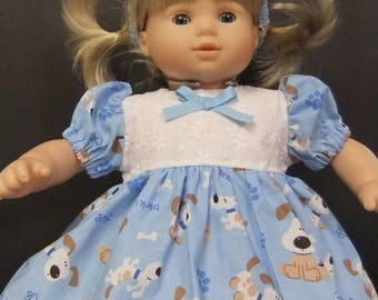 Doll Clothes fit Bitty Baby/ Bitty Twin:dress,panties and headband with puppies