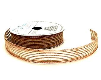5/8 inch Burlap Ribbon / Copper Edge  Burlap Ribbon / Natural Jute Ribbon / Natural Fiber Ribbon / Holiday Ribbon / 3 YARDS