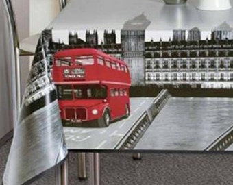 "london busses wipe over vinyl table cloth by the yard 54"" WIDE"