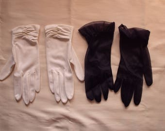 2 Pairs Vintage 1950's Ladies dress Gloves Navy Ruffled Sheers and White Ruched