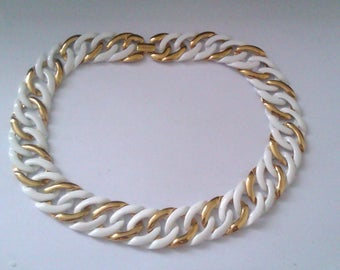 Napier white enamel & gold coloured necklace