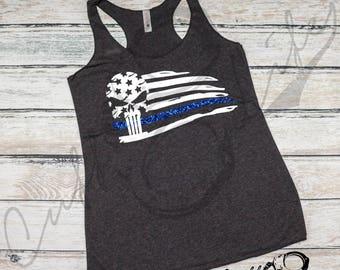 Thin Blue Line Skull Flag Racerback Tank / Thin Blue Line Apparel / Back The Blue / Police Flag / Police Wife / Shirt / Deputy / Thin Line