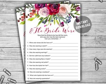 And The Bride Wore - Bridal Shower - Game - Cards - Watercolor - Floral - PRINTABLE - INSTANT DOWNLOAD - Bridal Shower Game - L43