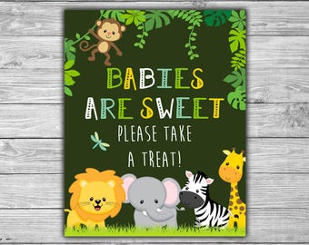 Baby Shower - Jungle - Safari - Babies Are Sweet - Please Take A Treat - Sign - PRINTABLE - INSTANT DOWNLOAD - Baby Shower Table Sign - 063