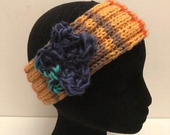 Colourful flower headband /ear warmer, hair accessory, winter hair accessory , flower hair accessory