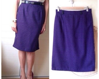 Skirt right vintage 80s 80 s houndstooth wool purple and black 38-40
