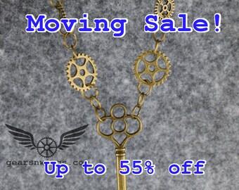 Key N' Chain, Steampunk Necklace, (N160007)