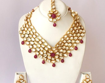 High Neck Real Kundan Bridal Necklace Set / Ruby Kundan (Uncut Diamond) Jewelry Set / Traditional Indian Wedding Jewelry / Bollywood Jewelry