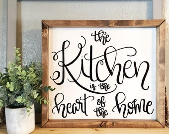 Kitchen is the heart of the home Kitchen Sign, Kitchen Decor, Housewarming Gift, Mothers Day gift, Chef gift, Cook gift, Gifts for Grandma