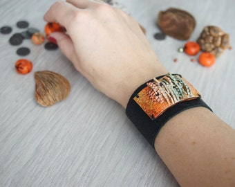 Leather cuff bracelet for women - polymer clay cuff bracelet - leather wide cuff bracelet - gift for her - unique women jewelry - statement