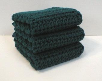 Handmade Crochet Cotton Dishcloths or Washcloths, 3-Pk, Dark Turquoise (#5675)