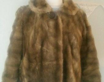 """Vintage Coat, Faux Fur Coat. Simulated Mink Fur Coat.Collared Coat, Vintage Jacket,1950s Coat, 1960s Coat,  Size 10-12 Bust 40"""""""