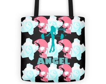 Skull tote bag, skull accessories, workout bag, angel bag