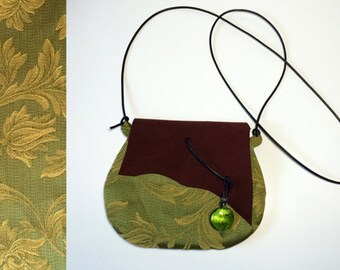 suede bag with stone pendant and leather shoulder strap, outside of handbag in damask cotton fabric and inside in jute, small women bag