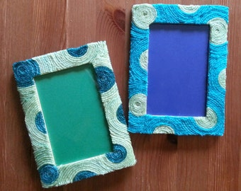 Yarn Inspired Picture Frames (lime/blue)