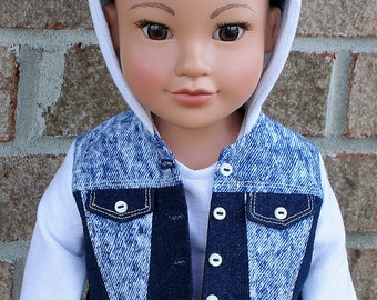 18 Inch Doll Clothes, Jean Jacket Hoodie, Sporty Outerwear