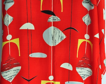 Vintage Marian Mahler Mobiles fabric Red  1950s